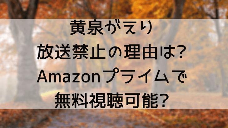 黄泉がえりが放送禁止の理由は?Amazonプライム他で無料視聴可能?